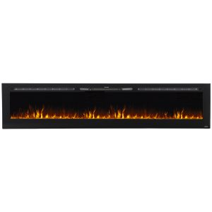 100 inch linear electric fireplace with orange flame effects on