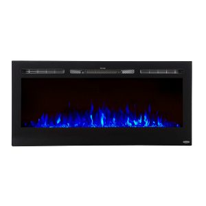 45 inch built in electric fireplace with blue flame effects on