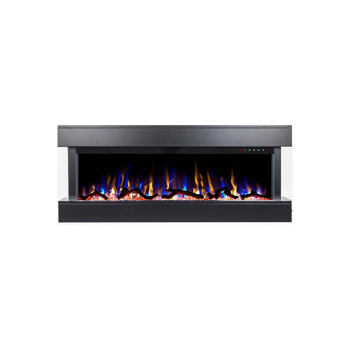 50 inch wall mounted electric fireplace with black mantel