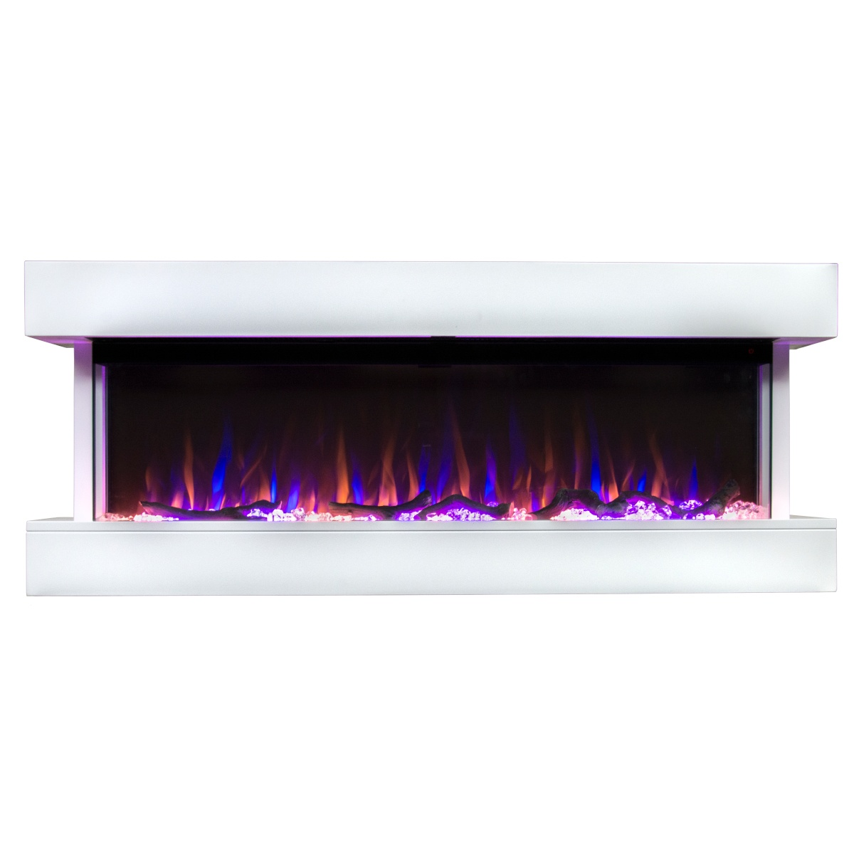 white wall mounted electric fireplace and mantel