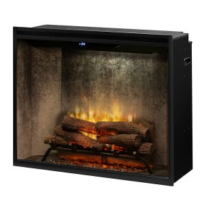 dimplex revillusion 36 inch portrait height built in electric fireplace RBF36PWC with weathered concrete interior