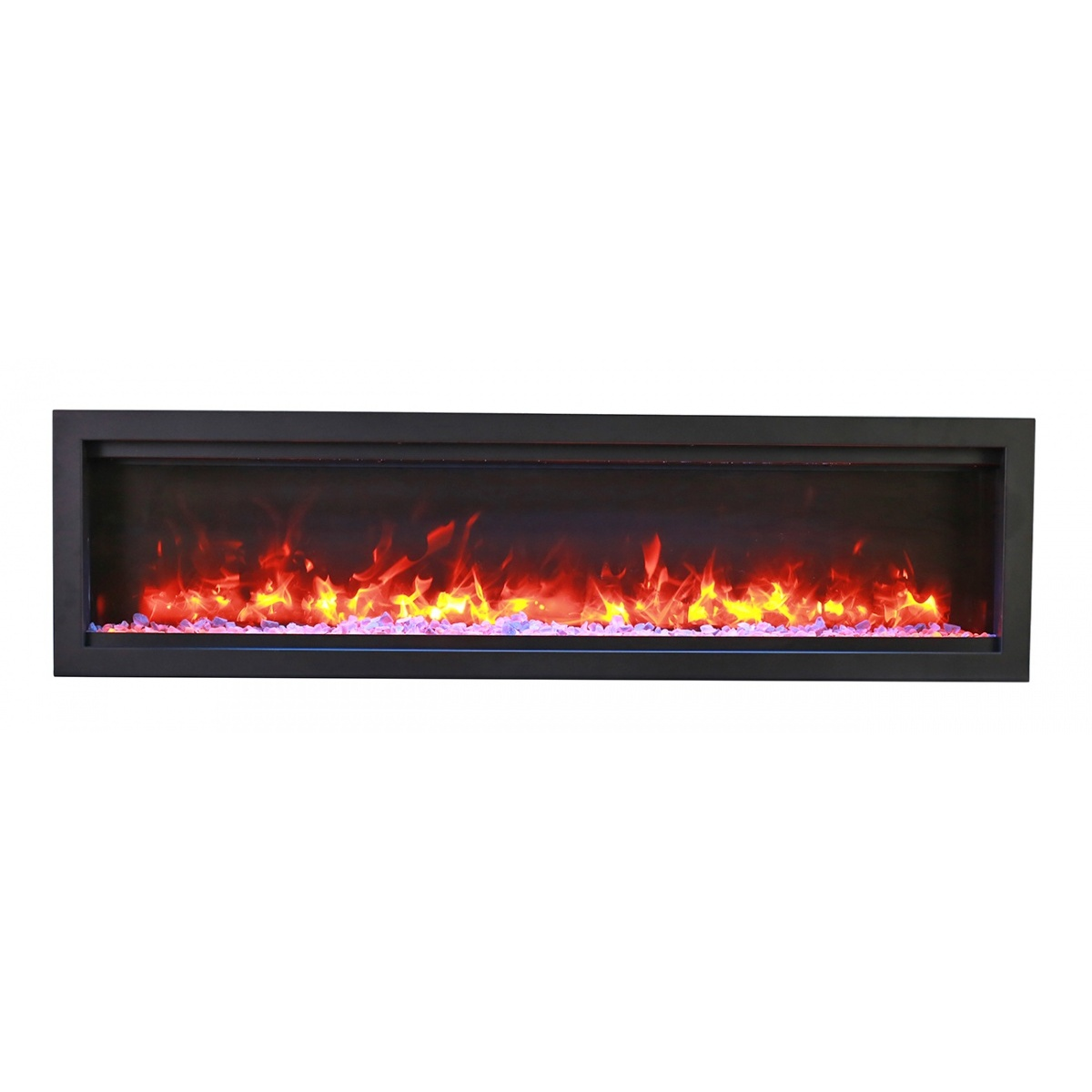 amantii sym-50-bespoke contemporary electric fireplace with crackling fire speaker sound