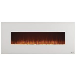 touchstone 80002 wall-mounted electric fireplace with ivory white surround trim