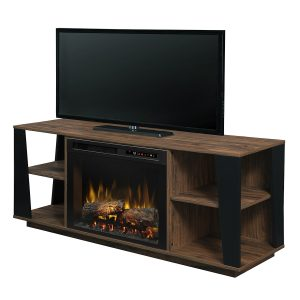 tan walnut low profile media center and electric fireplace insert with logs by Dimplex