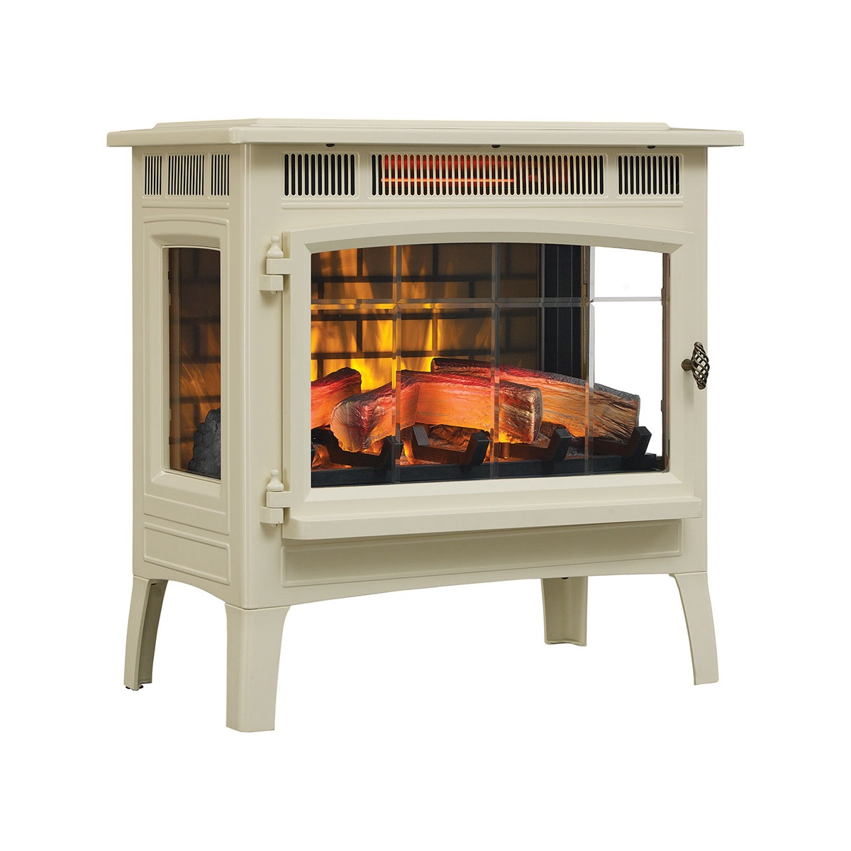 cream colored duraflame stove heater with logs and operable glass door and glass side viewing