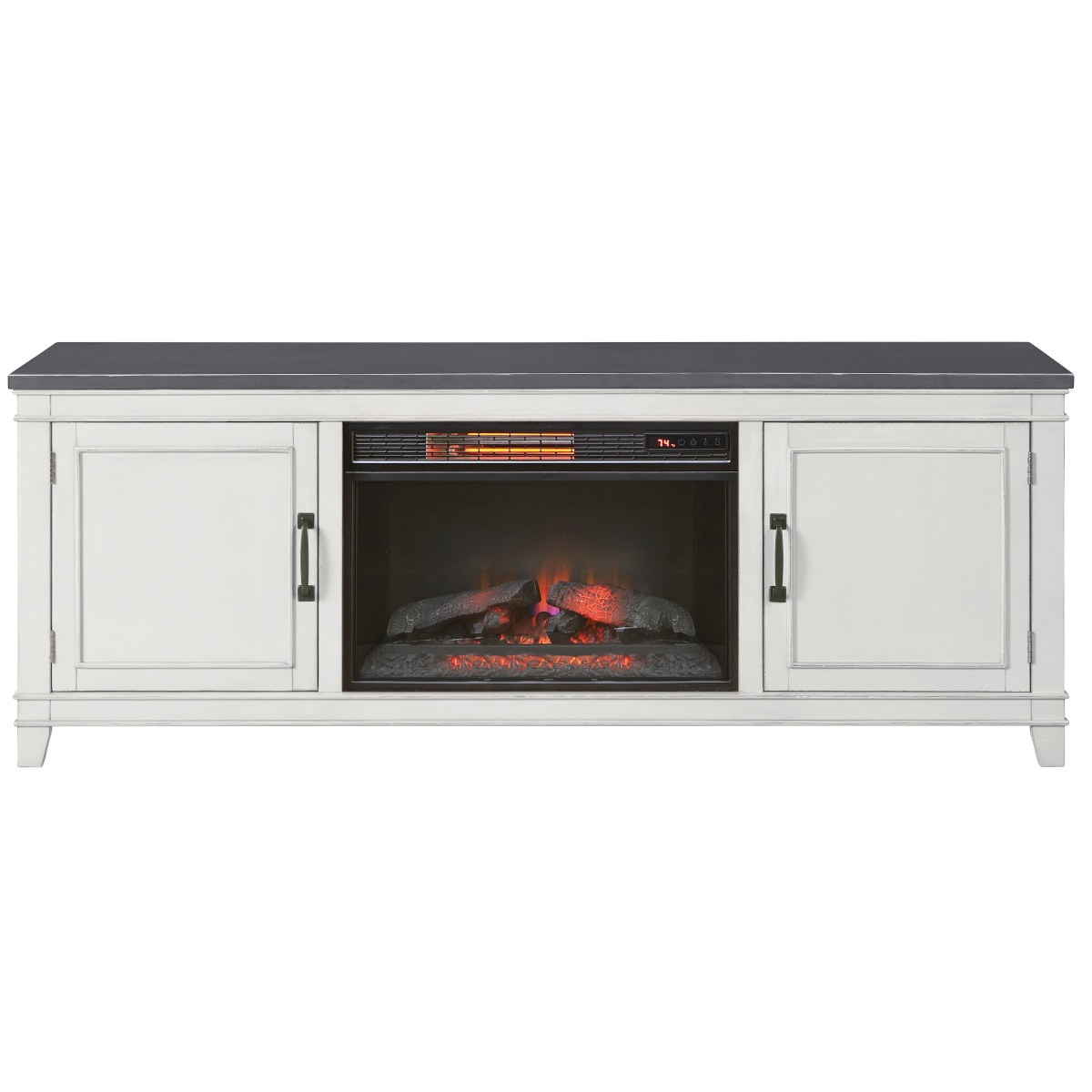 antique white and grey television stand with 26 inch electric fireplace insert
