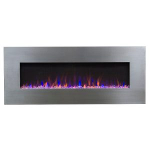 electric fireplace with stainless steel surround